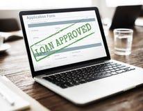 Pożyczka Zatwierdzający Akceptujący Podaniowej formy pojęcie Obrazy Stock