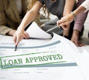 Pożyczka Zatwierdzający Akceptujący Podaniowej formy pojęcie zdjęcie stock