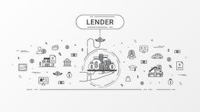 Pożyczkodawcy infographics pojęcie Obrazy Royalty Free