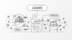 Pożyczkowy Infographics Pożyczkowa zgoda między pożyczkodawcą i pożyczającym Mieszkanie ikon kreskowy projekt zawiera kredytodawc Zdjęcie Stock