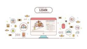 Pożyczkowy Infographics projekta pojęcie Pożyczkowa zgoda między kredytodawcą i dłużnikiem również zwrócić corel ilustracji wekto Fotografia Royalty Free