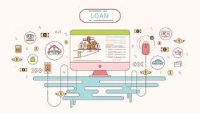 Pożyczkowy Infographics projekta pojęcie Pożyczkowa zgoda między kredytodawcą i dłużnikiem również zwrócić corel ilustracji wekto Zdjęcie Royalty Free
