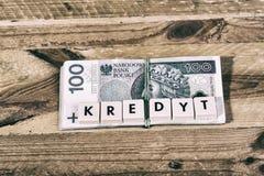 Pożyczkowy pieniądze - Polska waluta Obrazy Stock