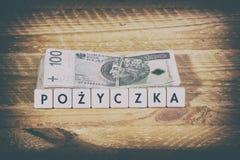 Pożyczkowy pieniądze - Polska waluta Obraz Stock
