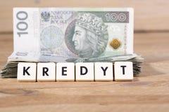 Pożyczkowy pieniądze - Polska waluta Zdjęcie Stock