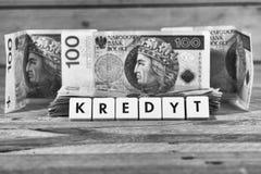 Pożyczkowy pieniądze - Polska waluta Obrazy Royalty Free