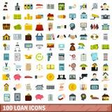 100 pożyczkowych ikon ustawiających, mieszkanie styl Fotografia Royalty Free