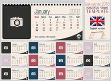 Pożytecznie biurko trójboka kalendarza 2018 szablon z przestrzenią umieszczać fotografie Rozmiar: 220mm, 100mm x Format horyzonta ilustracja wektor