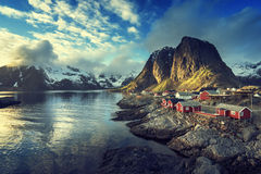 Połów buda przy wiosna zmierzchem - Reine, Lofoten wyspy obraz royalty free