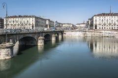 Po ποταμός και πλατεία Vittorio στο Τορίνο, Ιταλία Στοκ Εικόνες