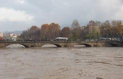 Po ποταμών πλημμύρα στο Τορίνο Στοκ εικόνα με δικαίωμα ελεύθερης χρήσης