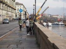 Po ποταμών πλημμύρα στο Τορίνο Στοκ Εικόνα