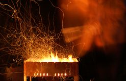 pożarnicza grill noc Obrazy Royalty Free