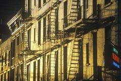 Pożarnicze ucieczki w greenwichu village, NY miasto, NY Zdjęcia Stock