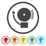Pożarniczego alarma ikona Szkolny alarm ilustracji