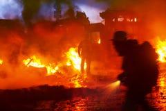 Pożarniczy bój na ulicznym Grushevskogo Obraz Royalty Free