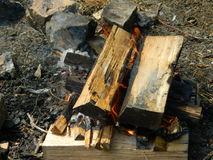 Pożarniczy graby ognisko Zdjęcia Royalty Free