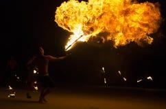 Pożarniczy przedstawienie przy Koh Samet, Tajlandia. Fotografia Royalty Free