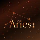 Pożarniczy symbol Aries zodiaka znak, horoskop, wektorowa sztuka i ilustracja, Zdjęcia Stock