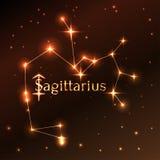 Pożarniczy symbol Sagittarius zodiaka znak, horoskop, wektorowa sztuka i ilustracja, Obraz Royalty Free