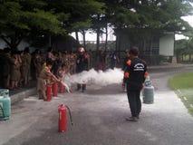 Pożarniczy szkolenie obraz stock