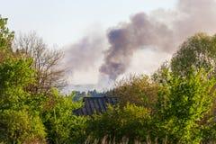 Pożaru lasu widok od daleko Obraz Stock