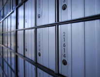 PO Box Perspective. Post office boxes at an angle Royalty Free Stock Photos