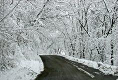 Po burzy Śnieżnej drogi krzywy Zdjęcia Royalty Free