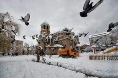 Po ciężkiego śniegu w Sofia Fotografia Stock