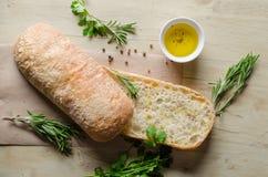 Pão cortado Ciabatta Fotos de Stock