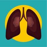 Po dymić płuco ikonę, mieszkanie styl ilustracja wektor