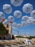 Po Farze Square, Lublin, Poland. The artistic installation of Philips within the Carnaval of Sztuk-Mistrzow (23rd-26th July 2015), Po Farze Square (temporarily Stock Photography