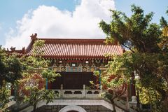 Po Lin μοναστήρι στο νησί Lantau Στοκ Φωτογραφία
