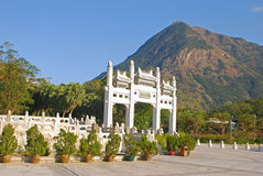 Po Lin Monastery Grand Entrance. With Beautiful background Mountain Royalty Free Stock Photos