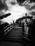 Po Lin Monastery, Hong Kong i svartvitt Arkivfoton