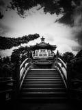PO Lin Monastery, Hong Kong in Schwarzweiss Lizenzfreie Stockfotos