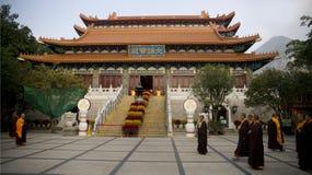 Po Lin Monastery. Monks at Po Lin Monastery, Tian Tan Buddha Temple, Lantau Island, Hong Kong Stock Photo
