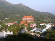 Po Lin Monastery sull'isola di Lantau in Hong Kong immagine stock libera da diritti