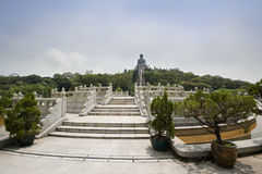 Po Lin monastery. View to Big Budda, Lantau island, Hong Kong, China Stock Images
