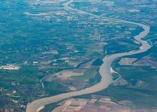 Po longest italian river aerial view Stock Photography