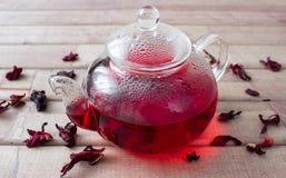 Poślubnik herbata w szklanym teapot i suszy kwiatu Obrazy Royalty Free