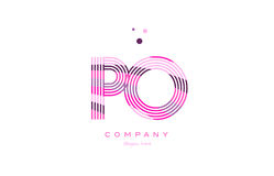 Po p o alphabet letter logo pink purple line icon template vecto Stock Photos