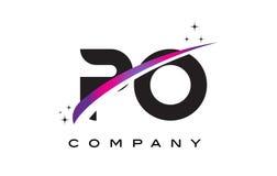 PO P O Black Letter Logo Design with Purple Magenta Swoosh Stock Photos