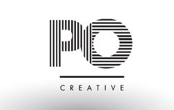 PO P O Black and White Lines Letter Logo Design. Royalty Free Stock Photos