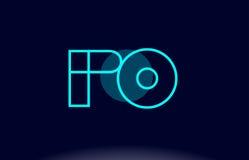 Po p o blue line circle alphabet letter logo icon template vecto Royalty Free Stock Image