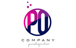 PO P O Circle Letter Logo Design with Purple Dots Bubbles Royalty Free Stock Images