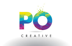 PO P O Colorful Letter Origami Triangles Design Vector. Royalty Free Stock Image