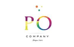 Po p o  creative rainbow colors alphabet letter logo icon Stock Image