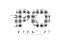 PO P O Letter Logo with Black Dots and Trails. Royalty Free Stock Photography