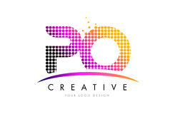PO P O Letter Logo Design with Magenta Dots and Swoosh Royalty Free Stock Images